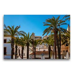 Premium Textil-Leinwand 75 x 50 cm Quer-Format Palmen vor der Kathedrale von Ibiza | Wandbild, HD-Bild auf Keilrahmen, Fertigbild auf hochwertigem Vlies, Leinwanddruck von Alexander Wolff