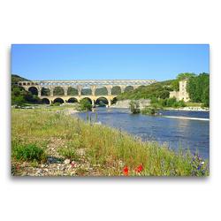 Premium Textil-Leinwand 75 x 50 cm Quer-Format Pont du Gard | Wandbild, HD-Bild auf Keilrahmen, Fertigbild auf hochwertigem Vlies, Leinwanddruck von Beate Bussenius