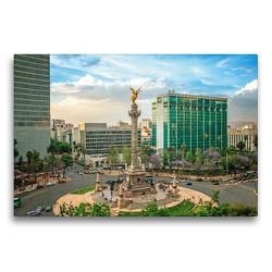 Premium Textil-Leinwand 75 x 50 cm Quer-Format Quirliges Treiben in Mexiko-Stadt an der Säule mit dem Engel der Unabhängigkeit | Wandbild, HD-Bild auf Keilrahmen, Fertigbild auf hochwertigem Vlies, Leinwanddruck von CALVENDO