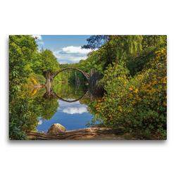 Premium Textil-Leinwand 75 x 50 cm Quer-Format Rakotzbrücke im Rhododrendronpark Kromlau | Wandbild, HD-Bild auf Keilrahmen, Fertigbild auf hochwertigem Vlies, Leinwanddruck von N N