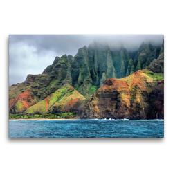 Premium Textil-Leinwand 75 x 50 cm Quer-Format Rauhe Steilküste Napali Coast auf der Insel Kauai in Hawaii | Wandbild, HD-Bild auf Keilrahmen, Fertigbild auf hochwertigem Vlies, Leinwanddruck von Sandra Schänzer