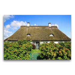 Premium Textil-Leinwand 75 x 50 cm Quer-Format Reetdachhaus in Sieseby | Wandbild, HD-Bild auf Keilrahmen, Fertigbild auf hochwertigem Vlies, Leinwanddruck von Steffani Lehmann