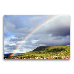 Premium Textil-Leinwand 75 x 50 cm Quer-Format Regenbogen über Pfullingen | Wandbild, HD-Bild auf Keilrahmen, Fertigbild auf hochwertigem Vlies, Leinwanddruck von GUGIGEI