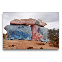Premium Textil-Leinwand 75 x 50 cm Quer-Format Riesige, bis zu 30 Meter hohe, bunt bemalte Granitfelsen erheben sich südlich des Ortes Tafraoute | Wandbild, HD-Bild auf Keilrahmen, Fertigbild auf hochwertigem Vlies, Leinwanddruck von Ulrich Senff
