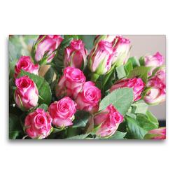 Premium Textil-Leinwand 75 x 50 cm Quer-Format Rosenstrauß in Pink, Weiß und Grün | Wandbild, HD-Bild auf Keilrahmen, Fertigbild auf hochwertigem Vlies, Leinwanddruck von Gisela Kruse