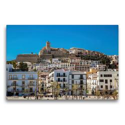 Premium Textil-Leinwand 75 x 50 cm Quer-Format Sa Penya mit der Kathedrale von Ibiza | Wandbild, HD-Bild auf Keilrahmen, Fertigbild auf hochwertigem Vlies, Leinwanddruck von Alexander Wolff