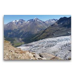 Premium Textil-Leinwand 75 x 50 cm Quer-Format Saas Fee Gletscher | Wandbild, HD-Bild auf Keilrahmen, Fertigbild auf hochwertigem Vlies, Leinwanddruck von Susan Michel