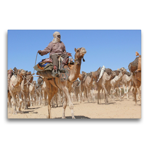 Premium Textil-Leinwand 75 x 50 cm Quer-Format Salzkarawane im Tschad | Wandbild, HD-Bild auf Keilrahmen, Fertigbild auf hochwertigem Vlies, Leinwanddruck von Knut Bormann