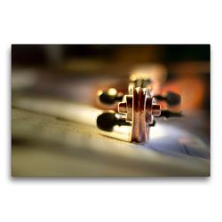 Premium Textil-Leinwand 75 x 50 cm Quer-Format Schnecke einer Violine | Wandbild, HD-Bild auf Keilrahmen, Fertigbild auf hochwertigem Vlies, Leinwanddruck von Christiane Calmbacher