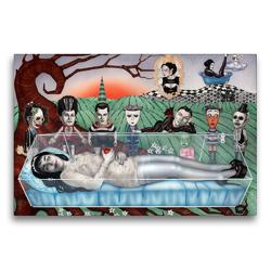Premium Textil-Leinwand 75 x 50 cm Quer-Format Schneewittchen und die 8 Zwerge, Illustration von Sara Horwath | Wandbild, HD-Bild auf Keilrahmen, Fertigbild auf hochwertigem Vlies, Leinwanddruck von Sara Horwath