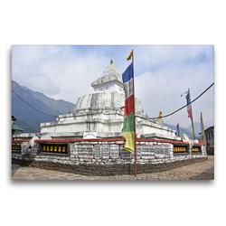 Premium Textil-Leinwand 75 x 50 cm Quer-Format Schöner Stupa im Dorf Chaurikharka im Solu Khumbu auf 2650 m Höhe | Wandbild, HD-Bild auf Keilrahmen, Fertigbild auf hochwertigem Vlies, Leinwanddruck von Ulrich Senff
