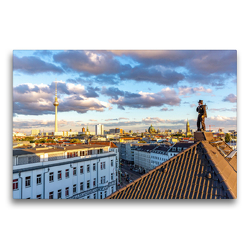 Premium Textil-Leinwand 75 x 50 cm Quer-Format Schornsteinfeger am Berliner Fernsehturm   Wandbild, HD-Bild auf Keilrahmen, Fertigbild auf hochwertigem Vlies, Leinwanddruck von Joern Dudek