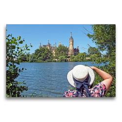 Premium Textil-Leinwand 75 x 50 cm Quer-Format Schweriner Schlossblick | Wandbild, HD-Bild auf Keilrahmen, Fertigbild auf hochwertigem Vlies, Leinwanddruck von Holger Felix