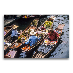 Premium Textil-Leinwand 75 x 50 cm Quer-Format Schwimmende Märkte in Damnoen Saduak | Wandbild, HD-Bild auf Keilrahmen, Fertigbild auf hochwertigem Vlies, Leinwanddruck von Christian Müringer