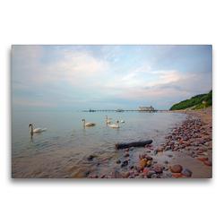 Premium Textil-Leinwand 75 x 50 cm Quer-Format Seebrücke Seelin | Wandbild, HD-Bild auf Keilrahmen, Fertigbild auf hochwertigem Vlies, Leinwanddruck von Andrea Potratz
