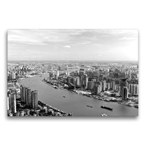 Premium Textil-Leinwand 75 x 50 cm Quer-Format Shanghai Skyline mit Huangpu River | Wandbild, HD-Bild auf Keilrahmen, Fertigbild auf hochwertigem Vlies, Leinwanddruck von Ralf Wittstock