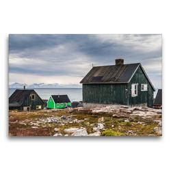 Premium Textil-Leinwand 75 x 50 cm Quer-Format Siedlungshäuser in Ittoqqortoormiit | Wandbild, HD-Bild auf Keilrahmen, Fertigbild auf hochwertigem Vlies, Leinwanddruck von Mario Hagen