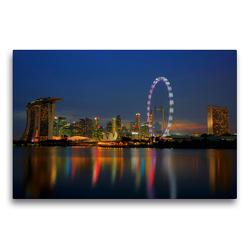 Premium Textil-Leinwand 75 x 50 cm Quer-Format Singapore Skyline an der Marina Bay | Wandbild, HD-Bild auf Keilrahmen, Fertigbild auf hochwertigem Vlies, Leinwanddruck von Ralf Wittstock
