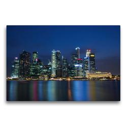 Premium Textil-Leinwand 75 x 50 cm Quer-Format Singapur Skyline bei Nacht   Wandbild, HD-Bild auf Keilrahmen, Fertigbild auf hochwertigem Vlies, Leinwanddruck von Ralf Wittstock