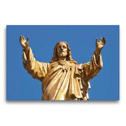 Premium Textil-Leinwand 75 x 50 cm Quer-Format Skulptur von Jesus | Wandbild, HD-Bild auf Keilrahmen, Fertigbild auf hochwertigem Vlies, Leinwanddruck von Marion Meyer @ Stimmungsbilder1