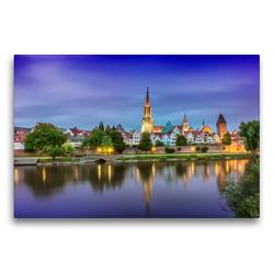 Premium Textil-Leinwand 75 x 50 cm Quer-Format Skyline der Stadt Ulm | Wandbild, HD-Bild auf Keilrahmen, Fertigbild auf hochwertigem Vlies, Leinwanddruck von Melanie Viola