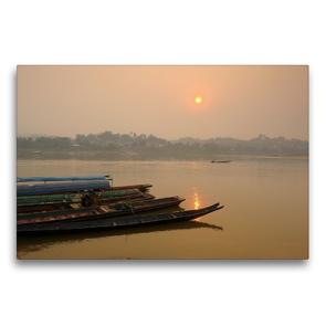 Premium Textil-Leinwand 75 x 50 cm Quer-Format Sonnenaufgang am Mekong Fluss | Wandbild, HD-Bild auf Keilrahmen, Fertigbild auf hochwertigem Vlies, Leinwanddruck von Christian Heeb