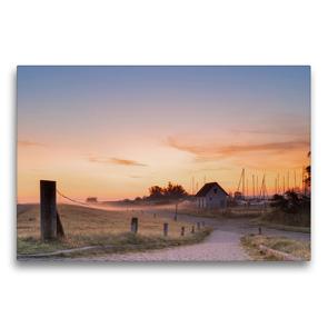 Premium Textil-Leinwand 75 x 50 cm Quer-Format Sonnenaufgang am Seglerhafen in Vitte | Wandbild, HD-Bild auf Keilrahmen, Fertigbild auf hochwertigem Vlies, Leinwanddruck von Stephan Schulz