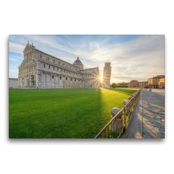 Premium Textil-Leinwand 75 x 50 cm Quer-Format Sonnenaufgang in Pisa | Wandbild, HD-Bild auf Keilrahmen, Fertigbild auf hochwertigem Vlies, Leinwanddruck von Michael Valjak