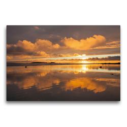 Premium Textil-Leinwand 75 x 50 cm Quer-Format Sonnenuntergang am Plage de Kerhillio   Wandbild, HD-Bild auf Keilrahmen, Fertigbild auf hochwertigem Vlies, Leinwanddruck von Etienne Benoît