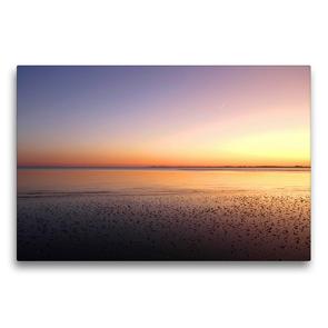 Premium Textil-Leinwand 75 x 50 cm Quer-Format Sonnenuntergang im Wattenmeer | Wandbild, HD-Bild auf Keilrahmen, Fertigbild auf hochwertigem Vlies, Leinwanddruck von Steffani Lehmann