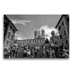 Premium Textil-Leinwand 75 x 50 cm Quer-Format Spanische Treppe in Rom | Wandbild, HD-Bild auf Keilrahmen, Fertigbild auf hochwertigem Vlies, Leinwanddruck von kattobello