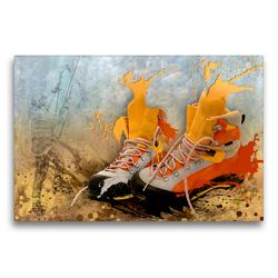 Premium Textil-Leinwand 75 x 50 cm Quer-Format SPORT trifft SPLASH – Eisklettern | Wandbild, HD-Bild auf Keilrahmen, Fertigbild auf hochwertigem Vlies, Leinwanddruck von Marion Krätschmer