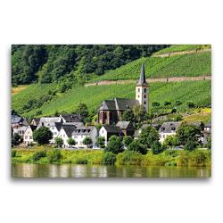 Premium Textil-Leinwand 75 x 50 cm Quer-Format St. Laurentius- Kirche vorm Calmont (Mosel) | Wandbild, HD-Bild auf Keilrahmen, Fertigbild auf hochwertigem Vlies, Leinwanddruck von Anja Frost