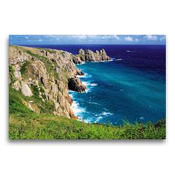 Premium Textil-Leinwand 75 x 50 cm Quer-Format Steile Klippen, rauhe See an der Küste von Cornwall – das englische Paradies im Südwesten des Vereinigten Königreichs | Wandbild, HD-Bild auf Keilrahmen, Fertigbild auf hochwertigem Vlies, Leinwanddruck von CALVENDO