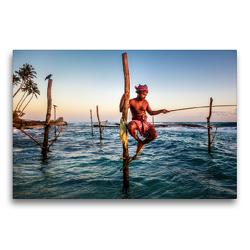 Premium Textil-Leinwand 75 x 50 cm Quer-Format Stelzenfischer an der Südküste | Wandbild, HD-Bild auf Keilrahmen, Fertigbild auf hochwertigem Vlies, Leinwanddruck von Jens Benninghofen