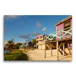 Premium Textil-Leinwand 75 x 50 cm Quer-Format Stelzenhäuser Caye Caulker, Belize | Wandbild, HD-Bild auf Keilrahmen, Fertigbild auf hochwertigem Vlies, Leinwanddruck von Askson Vargard