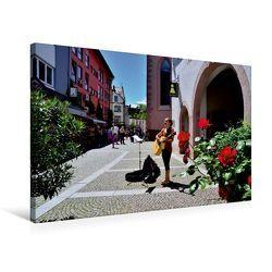Premium Textil-Leinwand 75 x 50 cm Quer-Format Straßenmusikantin in der Kirchstraße | Wandbild, HD-Bild auf Keilrahmen, Fertigbild auf hochwertigem Vlies, Leinwanddruck von Ingo Laue