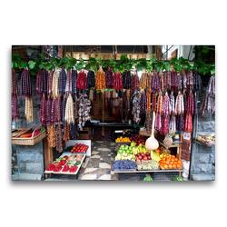Premium Textil-Leinwand 75 x 50 cm Quer-Format Straßenverkäufer in Tiflis | Wandbild, HD-Bild auf Keilrahmen, Fertigbild auf hochwertigem Vlies, Leinwanddruck von Michael Stuetzle