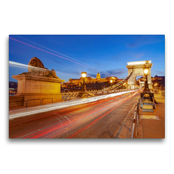 Premium Textil-Leinwand 75 x 50 cm Quer-Format Széchenyi Chain Bridge (Budapest-Ungarn) | Wandbild, HD-Bild auf Keilrahmen, Fertigbild auf hochwertigem Vlies, Leinwanddruck von TJPhotography