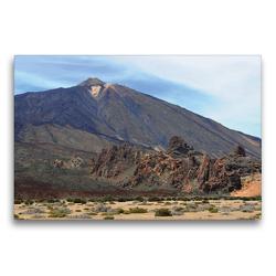 Premium Textil-Leinwand 75 x 50 cm Quer-Format Teide Vulkan und Felsengruppe Roques de Gracía | Wandbild, HD-Bild auf Keilrahmen, Fertigbild auf hochwertigem Vlies, Leinwanddruck von Anja Frost