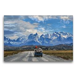 Premium Textil-Leinwand 75 x 50 cm Quer-Format Torres Del Paine Nationalpark, Patagonien, Chile – Campervan Vanlife | Wandbild, HD-Bild auf Keilrahmen, Fertigbild auf hochwertigem Vlies, Leinwanddruck von © viaje.ch