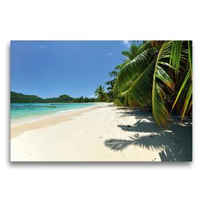 Premium Textil-Leinwand 75 x 50 cm Quer-Format Traumhafter Strand Seychellen | Wandbild, HD-Bild auf Keilrahmen, Fertigbild auf hochwertigem Vlies, Leinwanddruck von Jürgen Feuerer