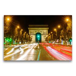 Premium Textil-Leinwand 75 x 50 cm Quer-Format Triumphbogen in Paris bei Nacht | Wandbild, HD-Bild auf Keilrahmen, Fertigbild auf hochwertigem Vlies, Leinwanddruck von Christian Müller