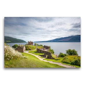 Premium Textil-Leinwand 75 x 50 cm Quer-Format Urquhart Castle, Loch Ness | Wandbild, HD-Bild auf Keilrahmen, Fertigbild auf hochwertigem Vlies, Leinwanddruck von Harald Schnitzler