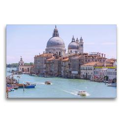 Premium Textil-Leinwand 75 x 50 cm Quer-Format Venedig, Canal Grande mit Santa Maria della Salute | Wandbild, HD-Bild auf Keilrahmen, Fertigbild auf hochwertigem Vlies, Leinwanddruck von Hanna Wagner