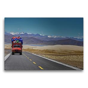 Premium Textil-Leinwand 75 x 50 cm Quer-Format Von der Kailash Region führt eine unendlich lange Straße nach Westen zum alten Königreich Guge   Wandbild, HD-Bild auf Keilrahmen, Fertigbild auf hochwertigem Vlies, Leinwanddruck von Gerhard Horter