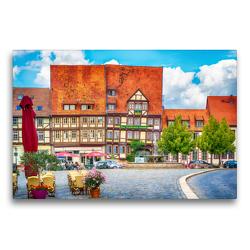 Premium Textil-Leinwand 75 x 50 cm Quer-Format Vor dem Mathildenbrunnen in der Neustadt in Quedlinburg, die vor den Mauern der Altstadt um 1200 entstand. | Wandbild, HD-Bild auf Keilrahmen, Fertigbild auf hochwertigem Vlies, Leinwanddruck von Ulrich Männel studio-fifty-five
