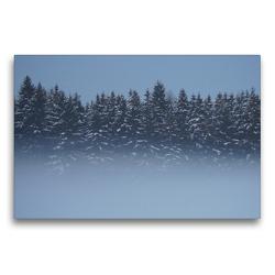 Premium Textil-Leinwand 75 x 50 cm Quer-Format Wald im Nebel | Wandbild, HD-Bild auf Keilrahmen, Fertigbild auf hochwertigem Vlies, Leinwanddruck von kattobello