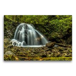 Premium Textil-Leinwand 75 x 50 cm Quer-Format Wasserfall bei Oberstdorf | Wandbild, HD-Bild auf Keilrahmen, Fertigbild auf hochwertigem Vlies, Leinwanddruck von Michael Wenk
