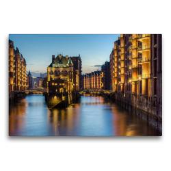 Premium Textil-Leinwand 75 x 50 cm Quer-Format Wasserschloss Hamburg | Wandbild, HD-Bild auf Keilrahmen, Fertigbild auf hochwertigem Vlies, Leinwanddruck von Michael Valjak